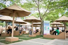 During the Luminato festival, an ordinary square was transformed into a #LQC cardboard beach. Lounge chairs and umbrellas (made entirely of cardboard) make David Pecaut Square a perfect place to kick back and relax. Who says you need sand or water to make a beach? #Placemaking