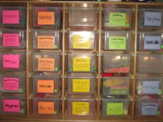 organize daily 5 word work activities so students can easily get them for rotations  This cabinet could be made with sheets of 3/4 ply and 1x1 moulding. You could customize the size of bin to fit...