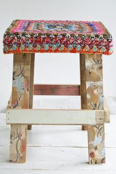 handmade stool of recycled wood with a cover of colored crochet heigth 45 cm  seat 33 x 33 cm