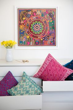 Huichol Yarn Painting, Framed, hand embroidered pillows, textiles, Mexican folk art