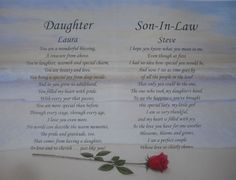 Daughter Son In Law Personalized Poem Anniversary Gift Or Christmas Present