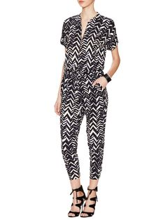 Chevron Front Zip Jumpsuit from Effortlessly Cool Pieces on Gilt