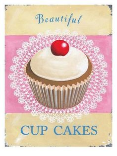 size: Art Print: Beautiful Cup Cakes Art Print by Martin Wiscombe by Martin Wiscombe : Artists Fondant Cupcake Toppers, Cupcake Art, Cupcake Cookies, Rose Cupcake, Vintage Cupcake, Vintage Food, Vintage Labels, Vintage Kitchen, Cupcake Illustration