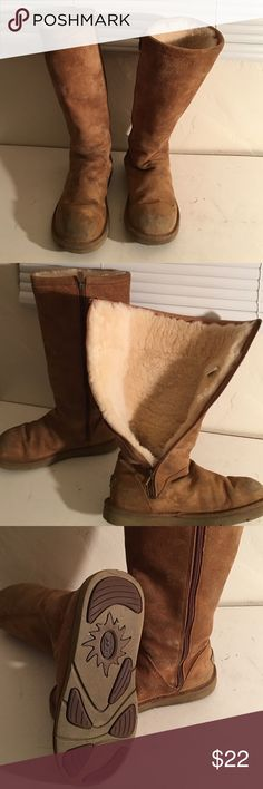 UGG TALL 1891 FUR LINED BOOTS SIZE 7 PREOWNED WORN UGG 1891 ROSANA TALL FUR LINED BOOTS ..THESE BOOTS ON THE OUTSIDE SHOW COSMETIC SOIL BUT THE INDIDE FUR IS GREAT. FULL AND WARM. INSIDES ZIPPERS. STURDY SOLES.  A GOOD CLEANING WILL HELP. SIZE 7 UGG Shoes Winter & Rain Boots