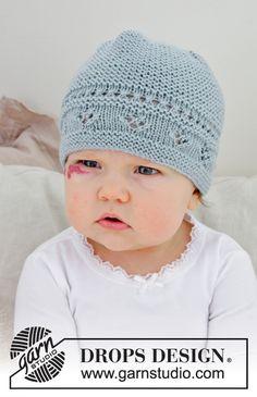 Strikket hue til baby med hulmønster og retstrik. Størrelse præmatur - 4 år. Arbejdet er strikket i DROPS BabyMerino.