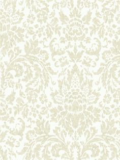This gorgeous cream and white damask wallpaper will add beauty to any home. From the book Proper English  at AmericanBlinds.com #wallcovering