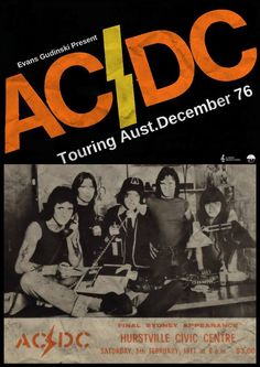 AC/DC concert poster, Hurstville Civic Center. February 5, 1977