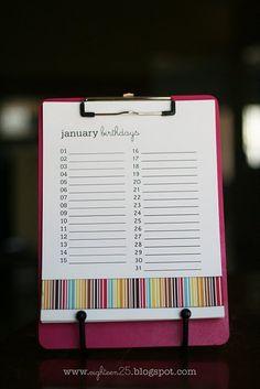 birthday reminder clipboard--hang by the snack calendar Birthday Week, Birthday Cards, Birthday List, Birthday Recipes, Friend Birthday, Birthday Parties, Happy Birthday, Diy Birthday Reminder, Perpetual Birthday Calendar