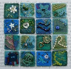 "Beautiful Embroidery and embellishment - squares known as 'inchies"" : great art!"