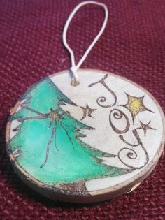 Christmas Tree Joy Woodburned Ornament