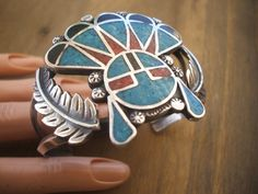 Vintage NAVAJO Sterling 925 Turquoise & Coral Chip Inlay SUN FACE Cuff BRACELET