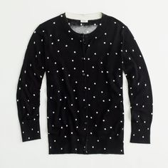 Factory classic crewneck cardigan in scattered dot ($75) found on Polyvore