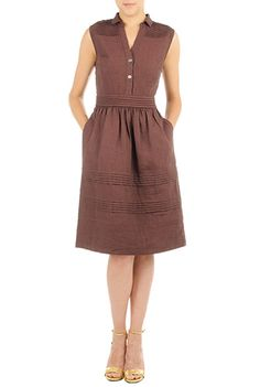 Linen Chambray Pleated Shirtdress Plus: Love the shape and 1950s style! Concerns: Is the color to blah?