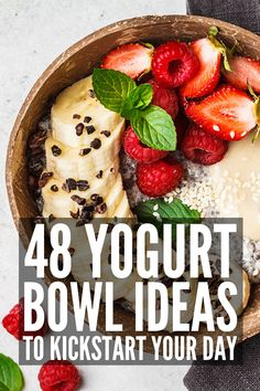 Clean Eating At Home: 48 Filling Yogurt Bowls to Kickstart Your Morning Best Greek Yogurt, Greek Yogurt Breakfast, Breakfast Bowls, Yogurt Bowl, Vegan Yogurt, Healthy Yogurt, Healthy Filling Breakfast, Clean Eating Breakfast, Healthy Breakfast Recipes