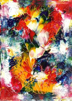 Birthday Flowers Abstract Acrylic Painting by rostudios on Etsy