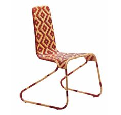 Driade, Flo Chair, Patricia Urquiola, 2004 Chair in steel structure covered of cane with lozenges pattern. Indoor use only. Dimensioni: cm. W. 53 D. 53 H. 86; seat H. 45