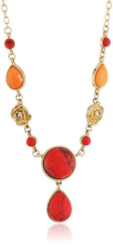 "NINE WEST VINTAGE AMERICA ""Coral Crush"" Worn Gold, Coral with Floral Motif Y-Necklace, 18"" -"
