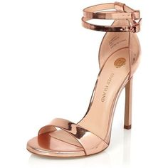 River Island Rose gold tone double strap heels (140 NZD) ❤ liked on Polyvore featuring shoes, sandals, ankle wrap shoes, ankle tie sandals, rose shoes, open toe high heel sandals and river island
