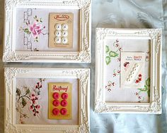 Amazing way to display vintage button cards and doilies - original idea by Clare's Craftroom.
