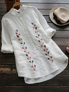 Floral Embroidered Button Up Linen Shirt - embroidery Embroidery On Kurtis, Kurti Embroidery Design, Hand Embroidery Videos, Hand Embroidery Flowers, Embroidery On Clothes, Flower Embroidery Designs, Embroidered Clothes, Embroidery Fashion, Vintage Embroidery