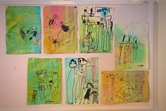 My stuff//kindergarten - the kids have drawn pictures of themselves and their families on paper colored by the kids with squirt guns filled with aquarel color