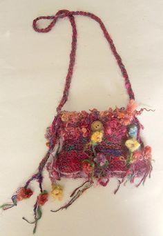 rustic handknit gypsy wanderer shoulder boho bag - gypsy rose traveling bag