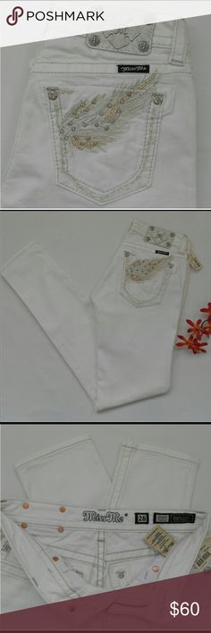 "Miss Me NWT Size 28 skinny white angel wings These are brand new with tags $104.00. Flawless no problems. They are skinny style size 28. This combo is very rare! Waist 28"" Rise 7 1/2"" Inseam 32 Miss Me Jeans Skinny"