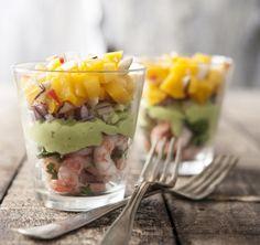 Rejecocktail med mango og avocado Fish Recipes, Seafood Recipes, Cooking Recipes, Tapas, Mango, Shrimp Avocado, Mashed Avocado, Fish Dishes, Finger Foods