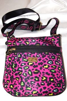 NEW~BETSEY JOHNSON X BODY CROSS BODY PURSE SPRING BAG PINK NEON LEOPARD PRINT #BetseyJohnsonCollection #xbodyZipCrossbody