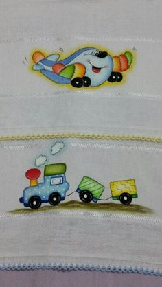 Fraldinha de boca by Marli Vieira Baby Painting, Fabric Painting, Kids Patterns, Quilt Patterns, Diy And Crafts, Crafts For Kids, Hand Painted Fabric, Borders For Paper, Cute Doodles