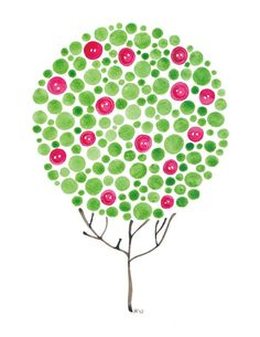 Buttons Watercolour Tree Print For Nursery and by jellybeans