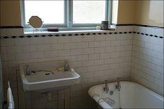 Liverpool & Merseyside - In pictures: Inside Lennon's home Vintage Bathroom Sinks, Edwardian Bathroom, Bathroom Images, Bathroom Designs, Bathroom Ideas, Black Marble Bathroom, Clawfoot Tub Shower, 1920s House, Bath Tiles