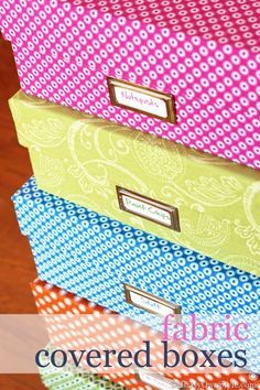 Repurpose shoeboxes and any box you have hanging around your house that has a lid on it. You can turn them into decorative storage boxes with fabric and metal label holders. I like to stack mine. Fabric Covered Box Tutorial | InMyOwnStyle.com
