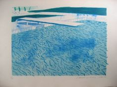 Lithograph of Water made of Lines and a Green Wash by David Hockney David Hockney Pool, Hockney Swimming Pool, Swimming Pools, Illustrations, Illustration Art, Singapore Art, Pop Art Movement, Gravure, Oeuvre D'art
