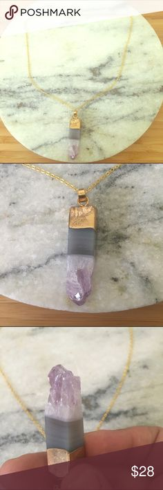 """PurplE Quartz necklace 14k gold plated chain Purple Quartz is a healing stone! Gorgeous necklace perfect for everyday wear. 16"""" chain Jewelry Necklaces"""