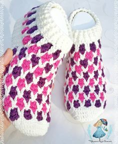 Please DM for your order and information # booties # booties construction # babet # shoes Crochet Slipper Pattern, Crotchet Patterns, Knitted Slippers, Wool Socks, Crochet Patterns For Beginners, Crochet Slippers, Knitting For Beginners, Crochet Motif, Knitting Patterns
