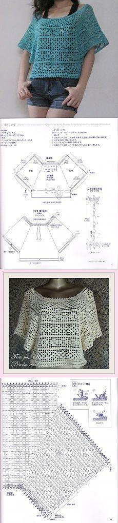 Свободная блуза-пончо филейной вязкой (крючок).