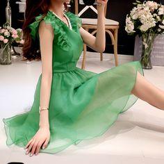 Pink doll 2016 summer slim waistline vintage women ball cown dress D16BDR269 green and blue