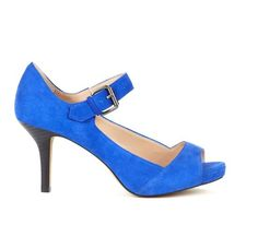 Royal blue Mary Jane heels.