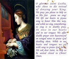 Saint Cecilia Feast Day: November 22