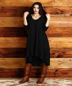 Black Ribbed Hooded Hi-Low Dress - Plus #zulily #zulilyfinds