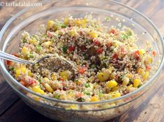 Quinoa, Corn and Capsicum Salad recipe Making Quinoa, How To Cook Quinoa, Lemon Herb, Healthy Grains, Quinoa Salad, Food Photo, Healthy Choices, Salad Recipes, Side Dishes