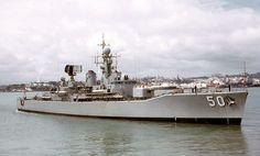 "HMAS Swan Destroyer Escort, AKA The ""Fluffy Duck"", somewhere in New Zealand waters circa Australian Defence Force, Royal Australian Navy, Naval History, Navy Ships, Aircraft Carrier, Royal Navy, New Zealand, Boats, Nautical"