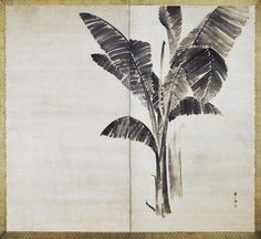 Banana Leaf screen, of Banana Leaf And Goose : Fusuma Paintings Mounted As A Pair Of two-panel Folding Screens. Traditionally attributed to Maruyama Ôkyo, Japanese (1733 - 1795).