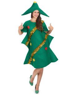 Weihnachtsbaum-Kostüm für Damen: Dieses Weihnachtsbaum-Kostüm für Damen besteht aus einem Kleid in Tannenform bedeckt mit Weihnachtsschmuck und einem passenden Hut. Das Kleid wurde mit Filz hergestellt. (Strumpfhose nicht...