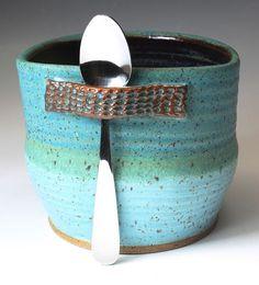 Ceramic Sugar Bowl  Salt Cup  Turquoise Matt by bridgespottery, $25.00
