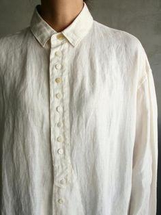 リネン平織<br />衿付 Longシャツ<br />(ユニセックス)