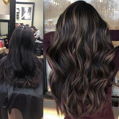 Dark Brunette Hair, Dark Hair, Dark Brown Hair With Low Lights, Black Hair With Highlights, Hair Highlights, Color Highlights, Hair Color For Black Hair, Brown Hair Colors, Professional Hair Salon