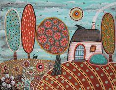 White Cottage 11x14inch ORIGINAL CANVAS PAINTING houses trees Folk Art Karla G #FolkArtAbstractPrimitive