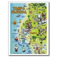 Tampa Florida Cartoon Map Postcards